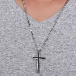 Enamel Cross Pendant Necklace - BLACK