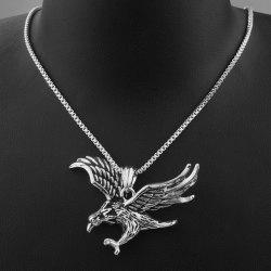 Vintage Engraved Eagle Pendant Necklace - SILVER