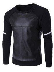 PU Leather Splicing Design Crew Neck Raglan Sleeve Sweatshirt