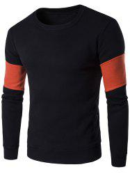 Color Block Splicing Design Crew Neck Flocking Sweatshirt