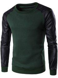 PU Leather Spliced Flocking Crew Neck Raglan Sleeve Sweatshirt - GREEN
