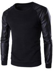 PU Leather Spliced Flocking Crew Neck Raglan Sleeve Sweatshirt - BLACK