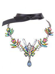 Artificial Gem Necklace and Ribbon Choker -