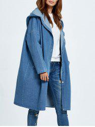 Hooded Button Up Denim Coat with Pockets - CLOUDY ONE SIZE