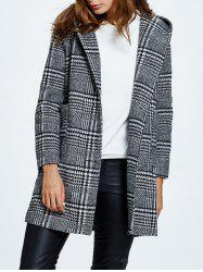 Hooded Pompon Embellished Plaid Wrap Coat - GRAY