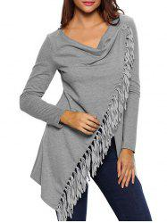 Asymmetrical Fringed Convertible Coat - GRAY L