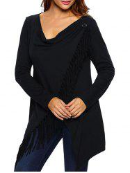 Asymmetrical Fringed Convertible Coat - BLACK
