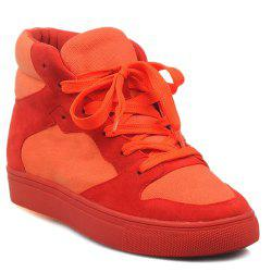 Suede High Top Tie Up Athletic Shoes -