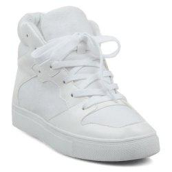 Suede High Top Tie Up Athletic Shoes - WHITE 39