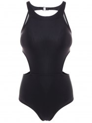 High Waist Cut Out One Piece Swimwear - BLACK XL