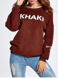 Loose Khaki Graphic Sweatshirt -