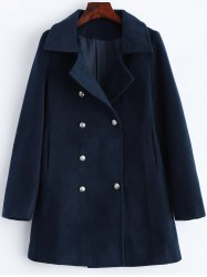 Lapel Slimming Double Breasted Wool Blend Coat