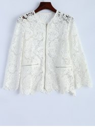 Openwork Zip Up Lace Jacket -