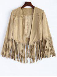 Fringed Faux Suede Open Front Jacket -