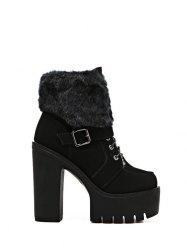 Faux Fur Buckle Strap High Heel Boots