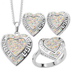Rhinestone Heart Hollowed Jewelry Set - SILVER