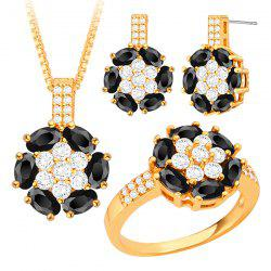 Rhinestone Faux Crystal Floral Jewelry Set -