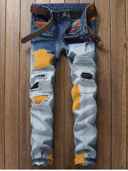 Plus Size Zipper Fly Rib and Holes Design Patch Narrow Feet Jeans -