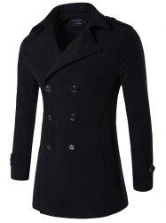 Plus Size Double Breasted Epaulet Woolen Blends Coat - BLACK
