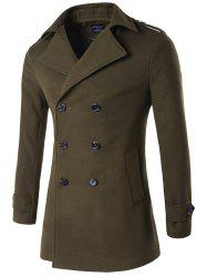 Plus Size Double Breasted Epaulet Woolen Blends Coat - ARMY GREEN