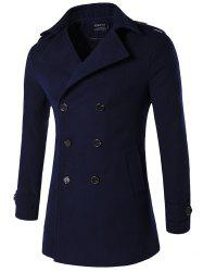 Plus Size Double Breasted Epaulet Woolen Blends Coat
