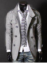 Epaulet Zipper Design Double Breasted Wool Blends Coat - LIGHT GRAY 3XL