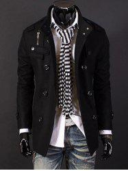 Epaulet Zipper Design Double Breasted Wool Blends Coat - BLACK