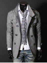 Epaulet Zipper Design Double Breasted Wool Blends Coat - DEEP GRAY