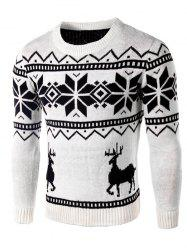 Deer and Snowflake Pattern Long Sleeve Sweater - WHITE