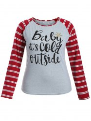 Raglan Sleeve Striped Letter Print Tee - GRAY M