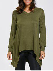 V Neck Long Sleeve High Low Asymmetric T-Shirt - ARMY GREEN ONE SIZE