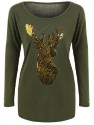 Deer Pattern Christmas Long Sleeve T-Shirt - ARMY GREEN XL