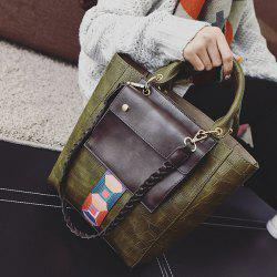 Braid Strap Stone Pattern Handbag -