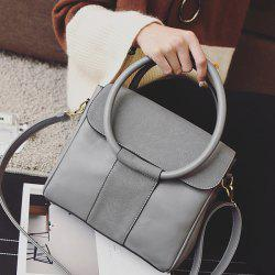 Suede Insert PU Leather Tote