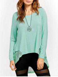Lace Trim High Low T-Shirt -