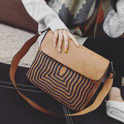 PU Leather Growth Ring Crossbody Bag - BROWN