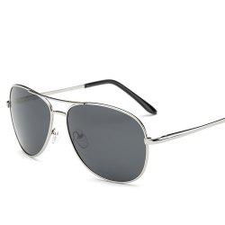 Cross-Bar Metal Black Lens Pilot Sunglasses