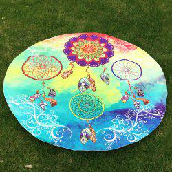 Dreamcatcher Print Round Beach Throw - BLUE