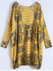 Plus Size Batwing Sleeve Patterned Sweater - CAMEL ONE SIZE