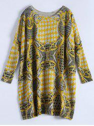 Plus Size Batwing Sleeve Patterned Sweater -