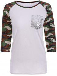 Camo Print Pocket Raglan Sleeve T-Shirt -