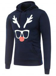 Hooded Long Sleeve Christmas Deer Horn Print Hoodie - CADETBLUE XL