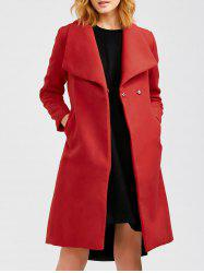 Wool Blend Long A Line Wrap Coat With Belt - RED