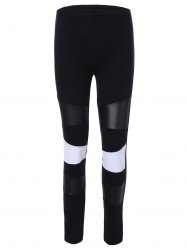 PU Leather Insert Color Block Leggings -