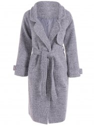 Belted Wool Blend Long Coat -