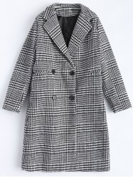 Lapel Plaid Double Breasted Coat -