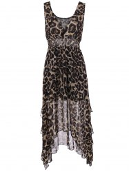 V Neck Leopard Chiffon High Low Dress -