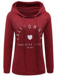 Hooded Drawstring Letter Graphic Hoodie -