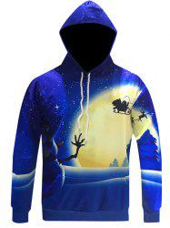 Snowman Print Pullover Christmas Patterned Hoodies - BLUE 3XL