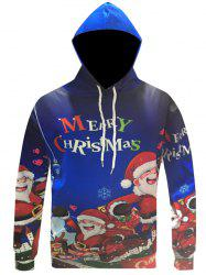 Pocket Front Cartoon Print Christmas Patterned Hoodies - BLUE 3XL